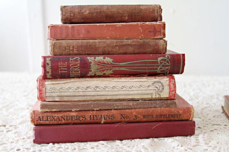 Vintage book pile